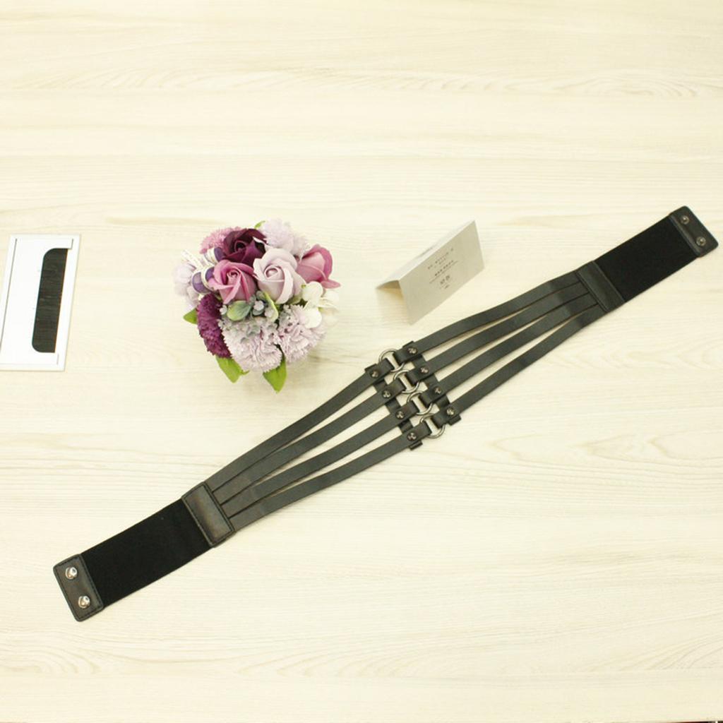 Vintage Women's Punk Rivets Black Leather Wide Waist Belt Hollow Out Band Cincher Wear Accessories for Oversized T Shirt Dress