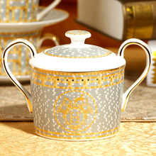 15 pieces Gold inlay Coffee cup suit premium grade bone china coffee cup and saucer European