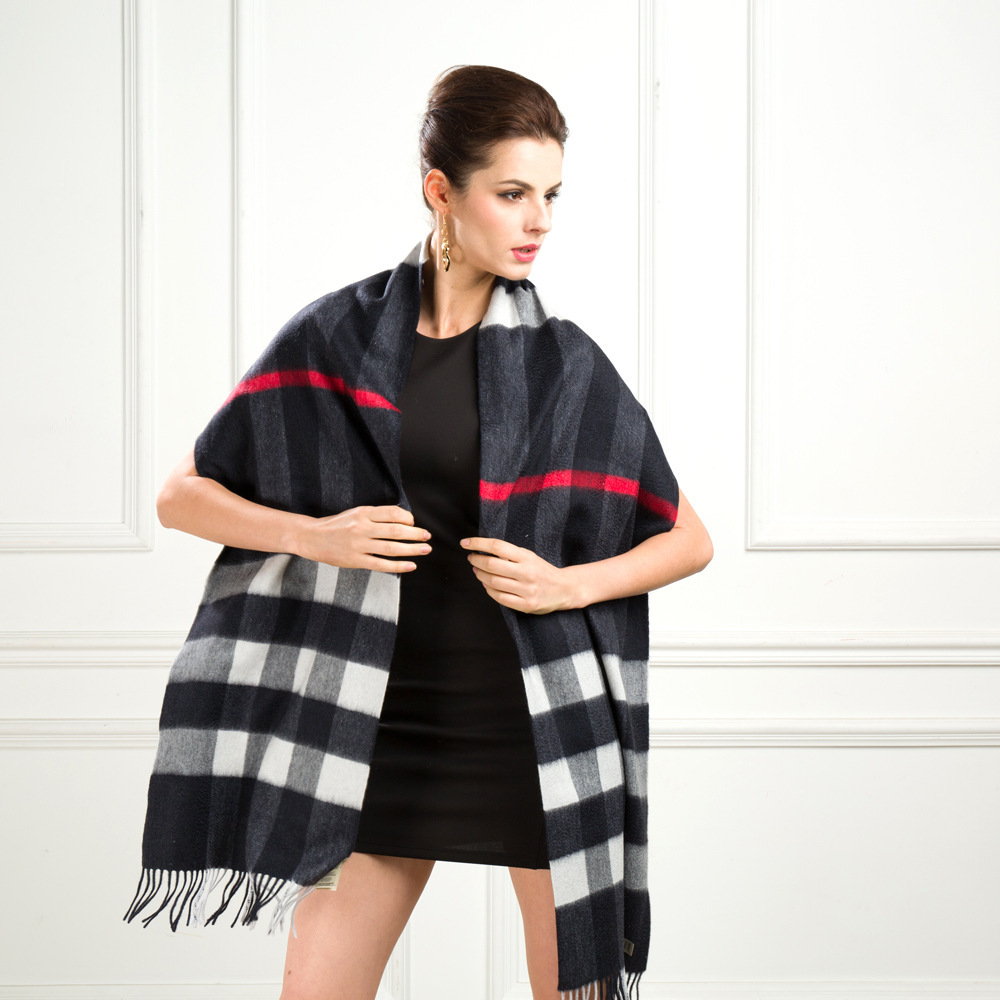 European and American female winter big plaid wool scarf shawl dual British autumn and winter scarves black thicker section(China (Mainland))