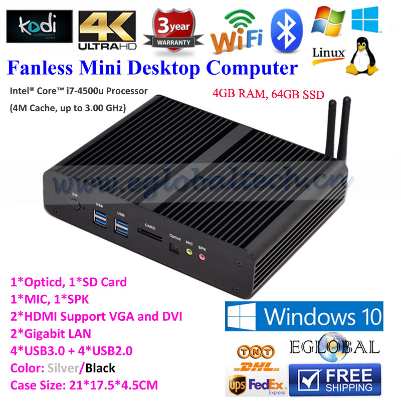 Eglobal Mini Pc Windows 4GB RAM 64GB SSD Stock i7 Computer with 300M WIFI Bluetooth Barebone System HDMI Cable Free Gigabit(China (Mainland))