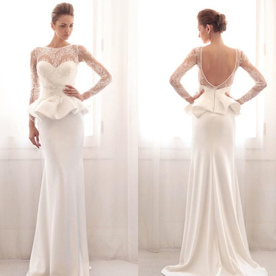 2016 новый великолепный баски свадебные платья с длинным рукавом кружева пола 8 сексуальная спинки свадебные платья бесплатная доставка