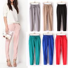 2015 bestselling Chiffon Pants Women Pants Casual Harem Pants Drawstring Elastic Waist Pants Plus Size Women Trousers(China (Mainland))