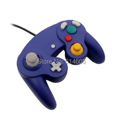 Purple Wired Shock Game Controller for Nintendo GameCube NGC Wii Video Game(China (Mainland))