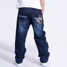 New Hot Men Washing Denim Casual Trousers Fashion Hip Hop Cotton Skateboard jeans Plus Size Baggy Pants 30-46