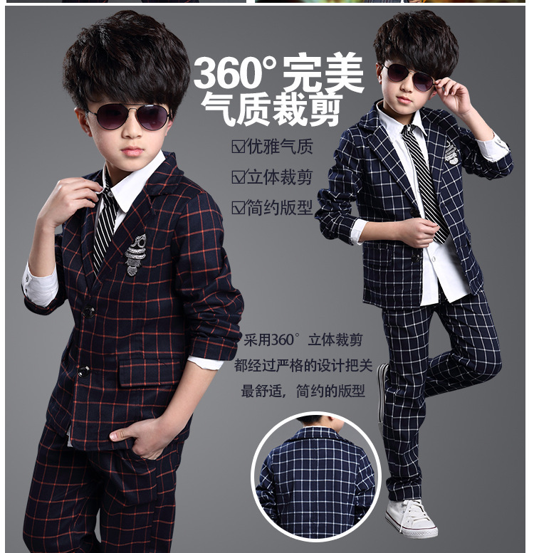 New arrival 2015 fashion blazers for boys V-Neck Plaid slim boy casual suit (coat+pant) wholesale children clothes free shipping(China (Mainland))