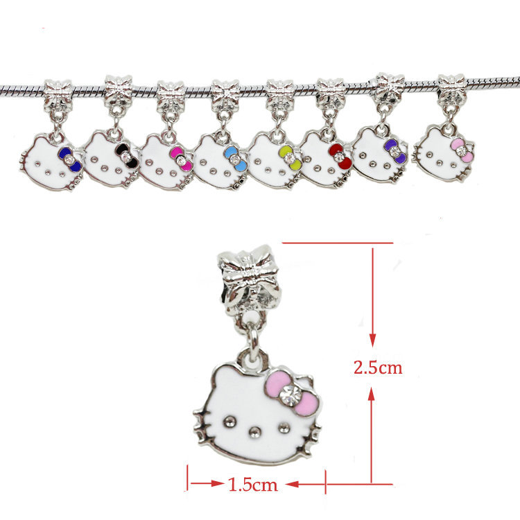 European style metal hello kitty charms silver cat charms European dangle charms Fit Snake Chain Bracelets(China (Mainland))