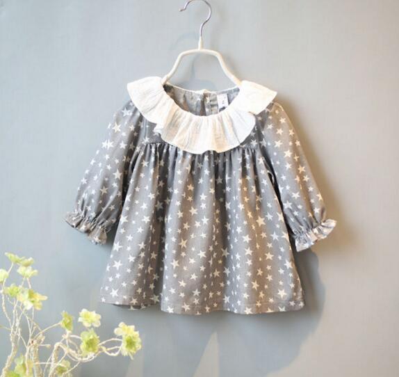 2016 New Big Ruffles Collar Long Sleeve Star Print Little Girls Casual Loose Dress Children Long Blouse Kids Dresses<br><br>Aliexpress