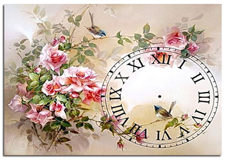 5d diamond embroidery rhinestones flowers drill clock cross stitch kits times crafts colorful scenery decor in needlework lovely(China (Mainland))