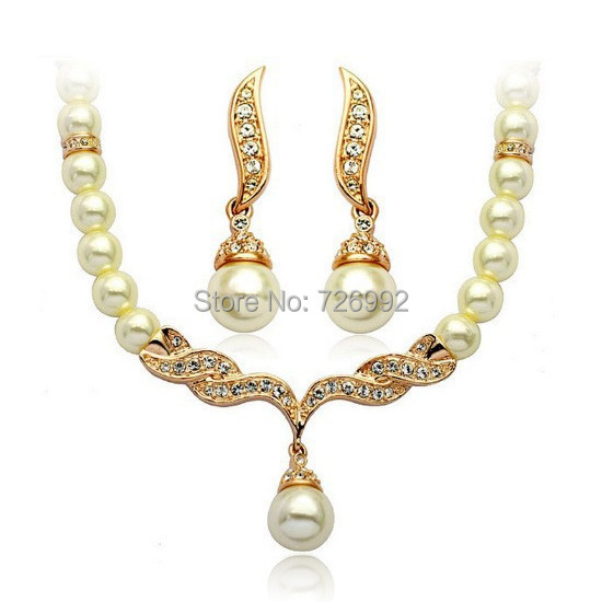2015 Fashion Angel Wings Rose Gold Bridal Jewelry Sets Cream Faux Pearl Studs Earrings Jewellery Set Necklace - Verynice store
