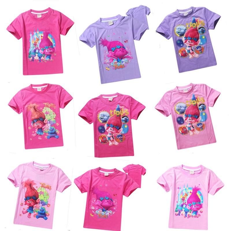 2017 new arrival cartoon Trolls T shirt boys and girls t-shirt POLI ROBOCAR Cartoon Kids summer T-shirt Kids Free Shipping