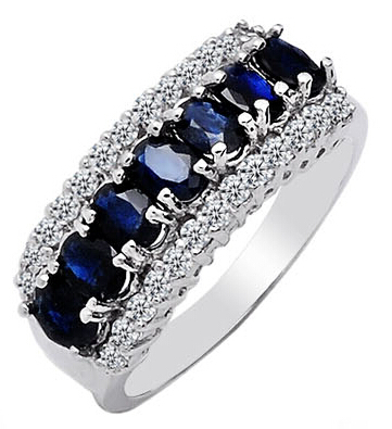 wedding ring high quality Fashion Korean 925 silver with 3 layer platinum plated Sapphire customize size ring SR0154S<br><br>Aliexpress