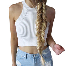 Knitted Crop Top Bustier Vintage Cropped Tops Brandy Melville Round Neck Crop Tops Off Shoulder Sexy Tank Top Crop