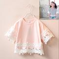 2 7y 2016 New Summer Girls Lacework Shirt Kids 100 Cotton Shirt Children Half Sleeve T