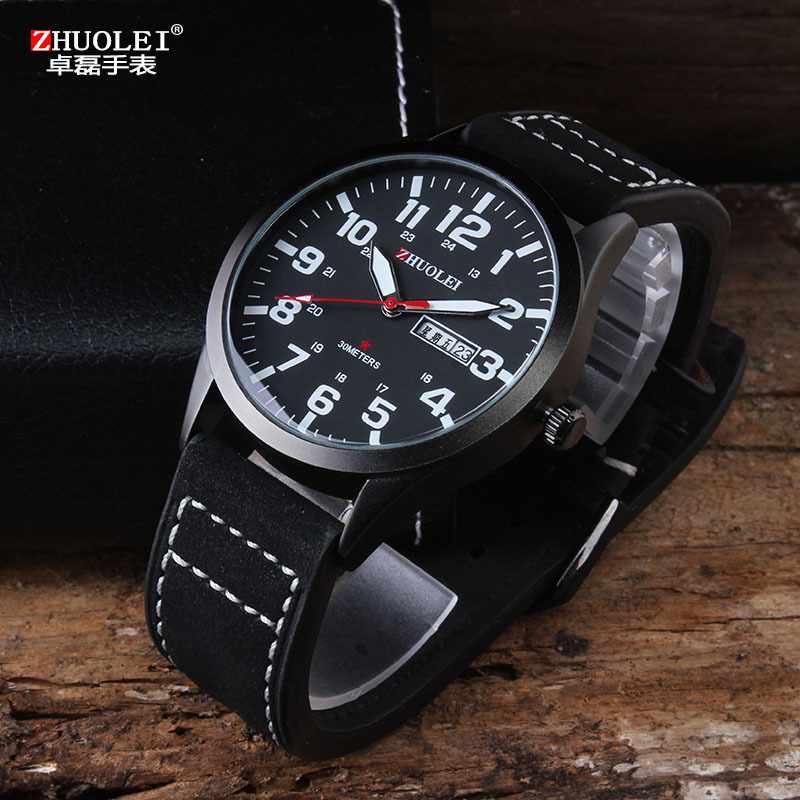 2014 New Zhuolei 2014 New Fashion Sport Quartz Watch Men Sport Watches Men Black Genuine Leather Strap Army Wristwatch<br><br>Aliexpress