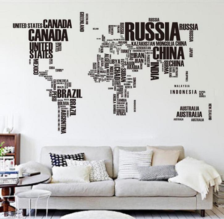 Large Word Map Wall Stickers Home Decal Vinyl Removable Wall Decor  Mural DIY Wallpaper art decor sticker