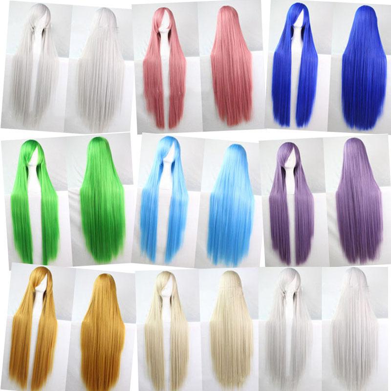 100cmlong straight green pink 13colors Cosplay anime wig,japanese Kanekalon fibre synthetic hair wig,holiday party ladies peruca(China (Mainland))