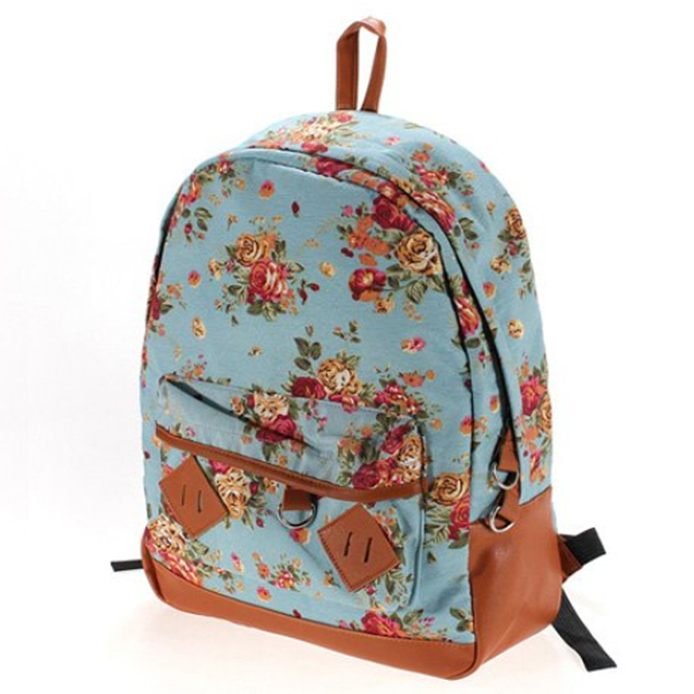 Backpack Blue Canvas Rucksack Vintage Flower Backpack