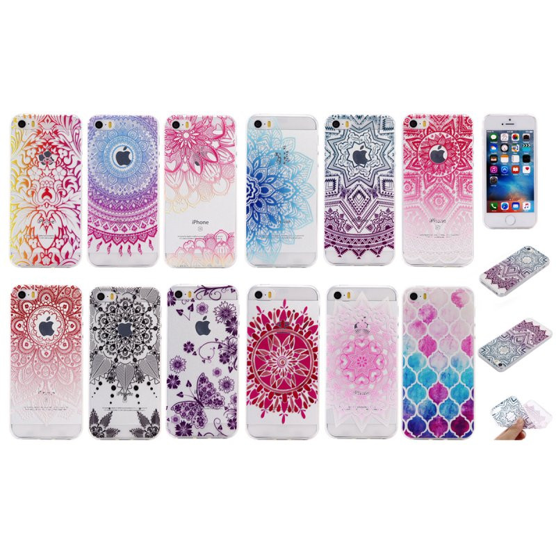 Floral Cover For iPhone SE Silicone Case Flower Clear Soft Slim Transparent Back Shell Gel For iPhone 5 5S SE Mobile Phone Cases(China (Mainland))
