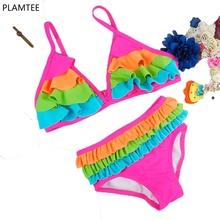 Spell Color Girls Bikini 2016 Cute Baby Swimsuit Cake Layer Kids Swimwear Halter Girl Two Piece Swimsuit Fashion Chlid Swim Suit