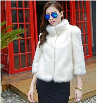 2015 new warm winter coat mink stand collar woman black white short fur thick plus size S-4XL - longju988 store