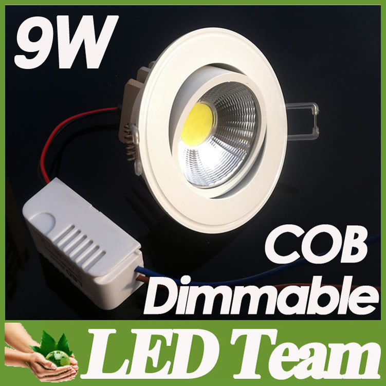 Factory Sales + 9W Cob Dimmable Led Downlights 120 Beam Angle Cool/Warm White Fixture Recessed Lamp 85-265V CE - LED Team store