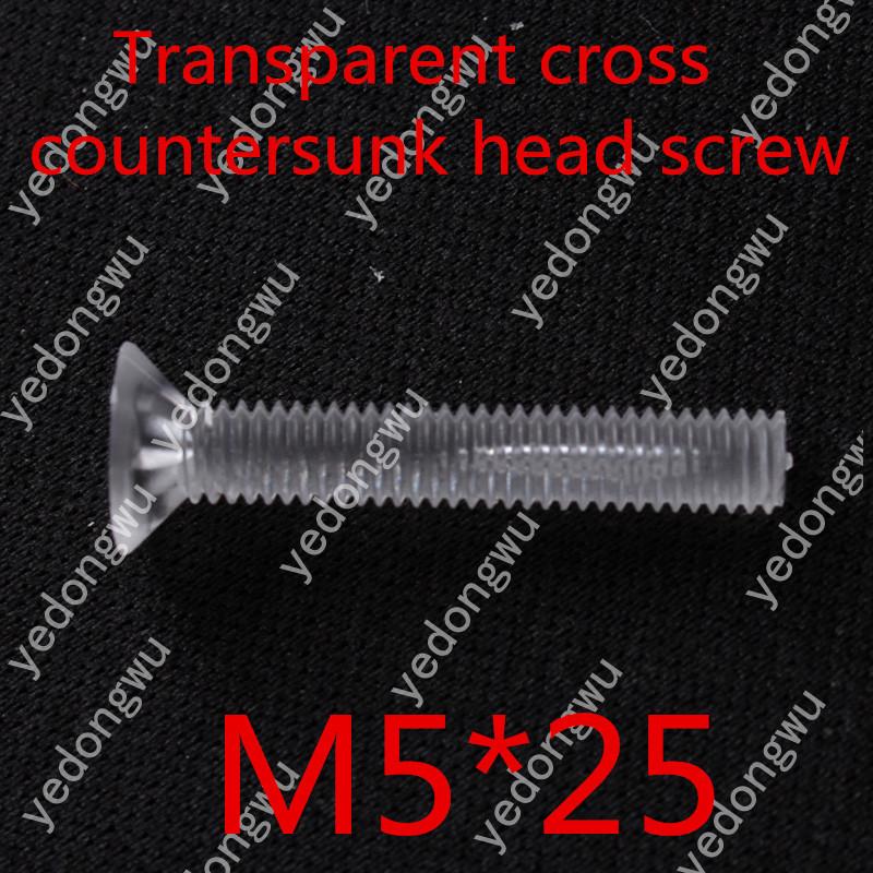 100pcs/lot m5*25 plastic transparent  flat head  cross countersunk head screw<br><br>Aliexpress