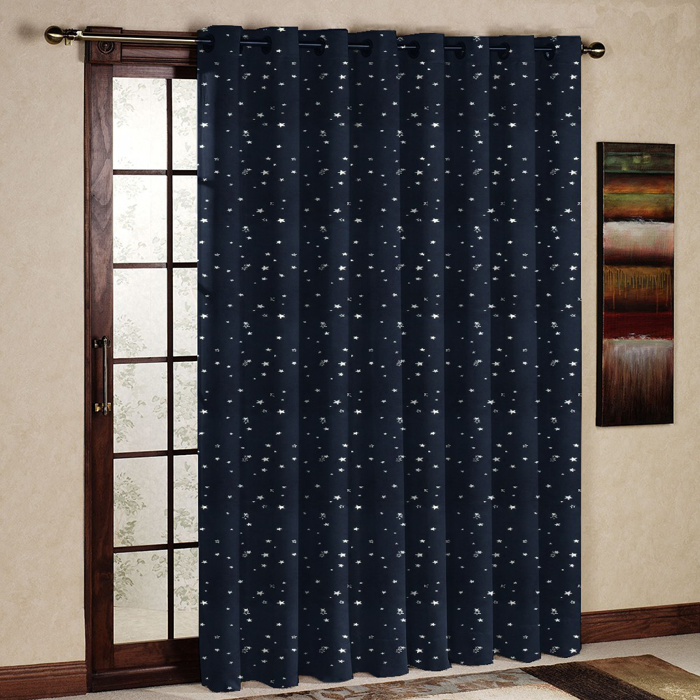 One Panel Printed Pastoral Thermal Insulated Blackout Star Curtain/Drape/Panel/Treatment for room bay window Grommet Navy Blue(China (Mainland))