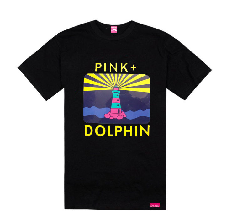 Rising Sun Sail pink dolphin tshirts famous brand tees streetwear hip hop t-shirt summer hot sale rock clothing cotton(China (Mainland))