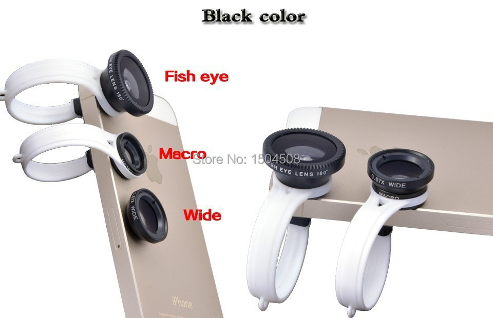 Freeshipping 3 In 1 Universal Clip camera Mobile Phone Lens Fish Eye + Macro + Wide Angle for iphone 4 5 6 Samsungnote2 3 4 HTC(China (Mainland))