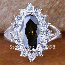 6PCS Marquise Green Peridot Silver Rings Sz 6