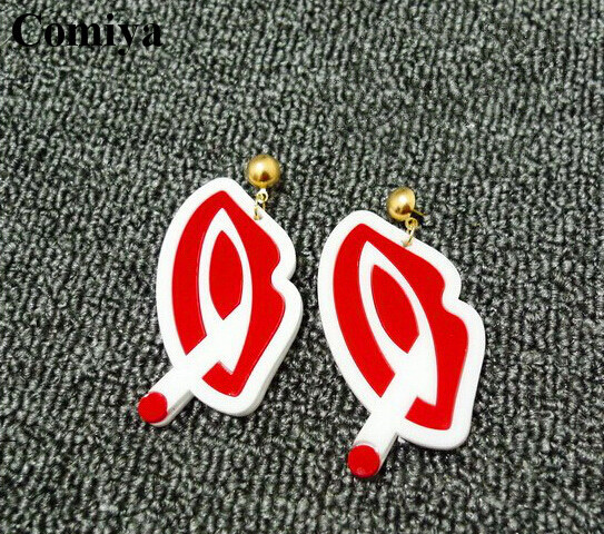 2015 New arrival statement pendant drop earrrings for sale fashion pendientes earring red lips with smoke for nightclub girl(China (Mainland))