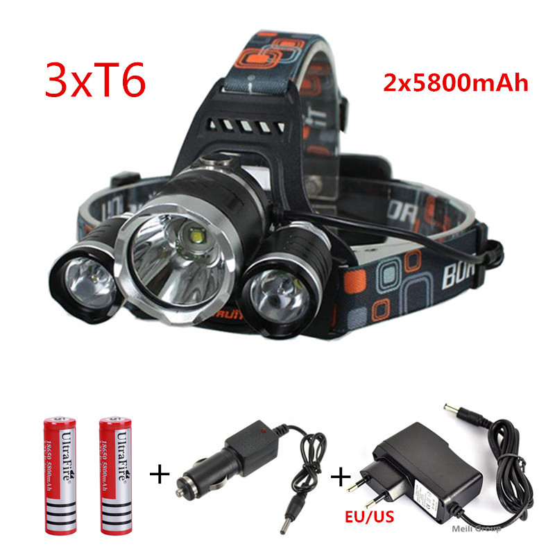3x CREE XML U2 LED 6000 Lm Headlight Headlamp Head Lamp Light Flashlight 18650+2*5800mAh battery+AC/Car charger(China (Mainland))