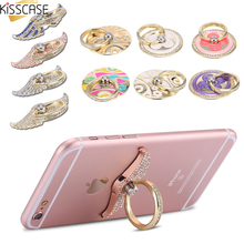 KISSCASE Metal Bling Rhinestone Finger Holder Rotated Ring Case Cover For iPhone 7 6 Plus For Samsung S7 Cellphone Car Stander(China (Mainland))