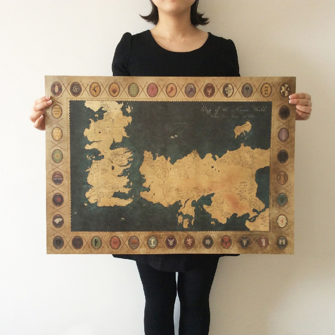 Retro kraft game of thrones map movie poster wall art for Decoration murale game of thrones