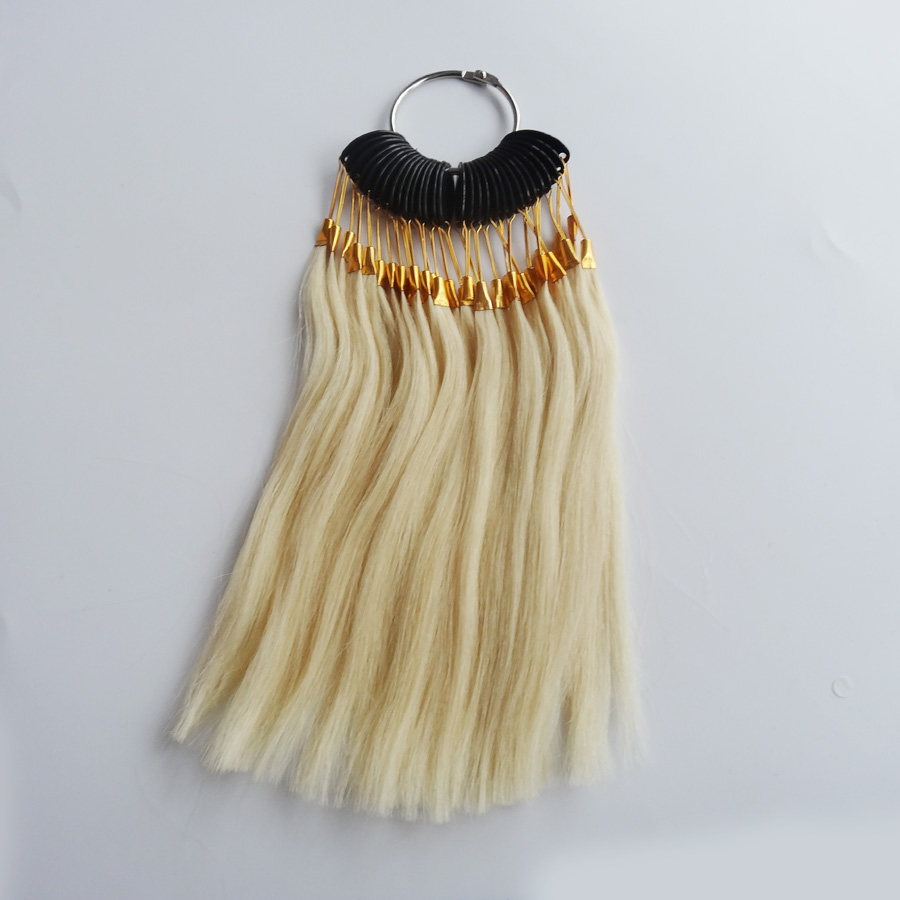 30pcs/set 100% human virgin hair color ring for human hair extensions and salon hair Dyeing sample, can be dye any color