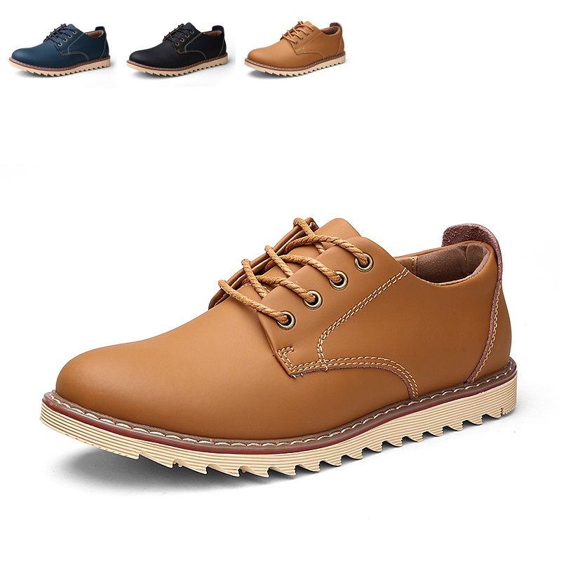 Mens Genuine Leather Handmade Shoes Casual Fashion Falts Lace-Up Footwear Outdoor Work Tooling Sapatos Masculino Chaussure Homme - Trend Shop store
