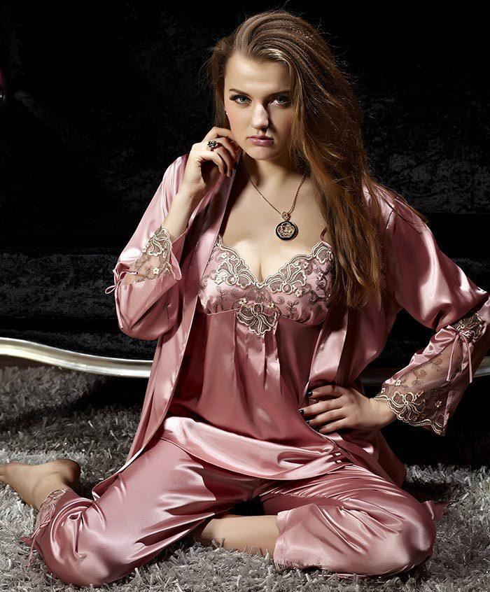 2014 spring autumn cute womens silk satin 3 piece sleep. Black Bedroom Furniture Sets. Home Design Ideas