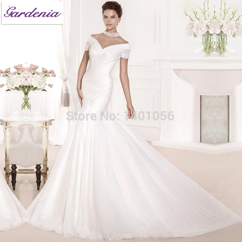 Hot sale designers floor length off the shoulder v neck for Simple off white wedding dresses