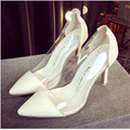 2015 Hot Sale Transparent Women high heeled Sandals Plus Size Jelly Shoes pointed toe high heels