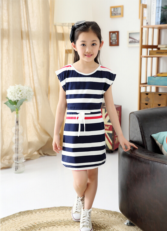 Free Shipping NEW Children's clothing girls summer summer models tide striped princess dress kids clothes for girls(China (Mainland))