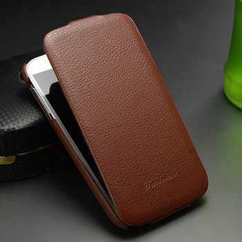 Genuine Leather Case for Samsung Galaxy S4 i9500 Flip Cover New 2015 with FASHION Logo Free Screen Protector