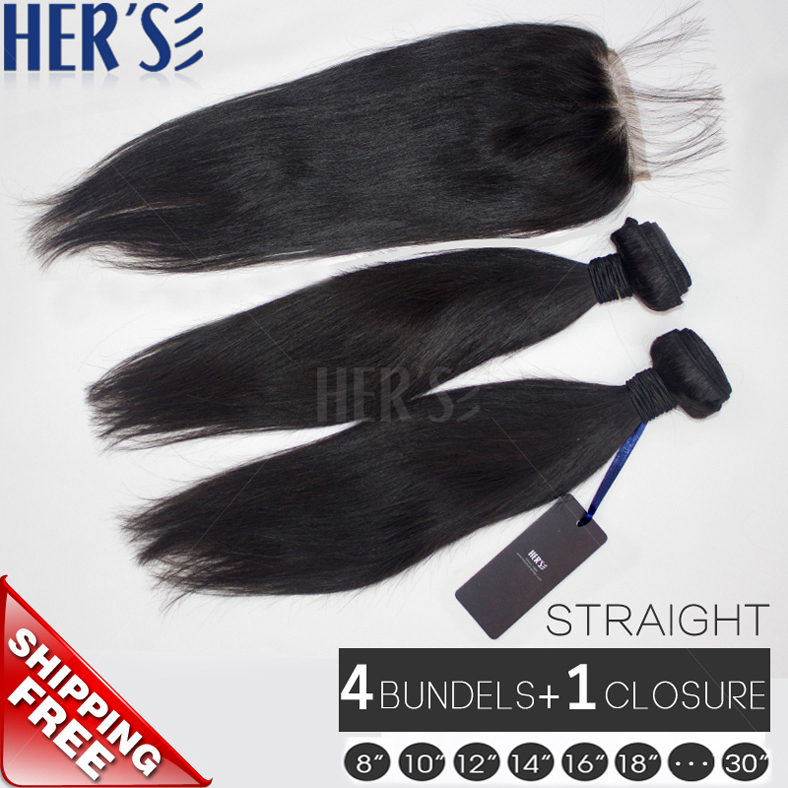Indian Straight Human Hair Weave With Closure,4 Bundles Straight Virgin Hair With Closure Piece 4x4,7A Unprocessed Virgin Hair(China (Mainland))