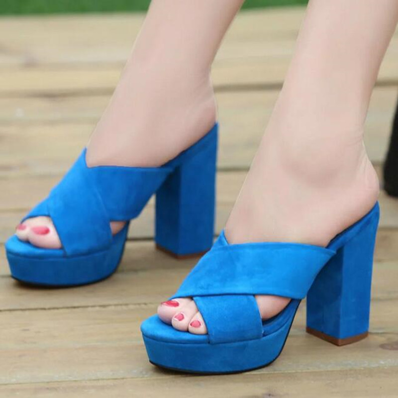 Фотография New Summer Candy Color High Heels Platform Slippers For Women Fashion Open Toe Shoes Comfortable Fashion Ladies Suede Sandals