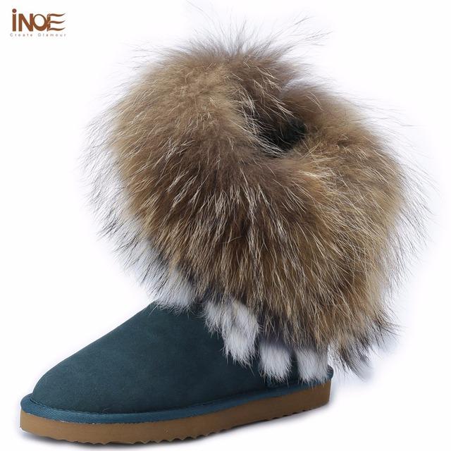 ИНОЕ мода большой лисий мех и мех кролика кисточки натуральной овчины кожа природа меховой подкладке короткий зимний снег сапоги для женщин, обувь