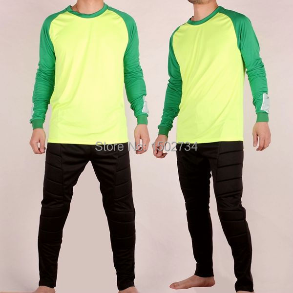 2015 New 100% cotton MAN football goalkeeper clothing with pants for PANPASI Cheap Authentic soccer jerseys(China (Mainland))