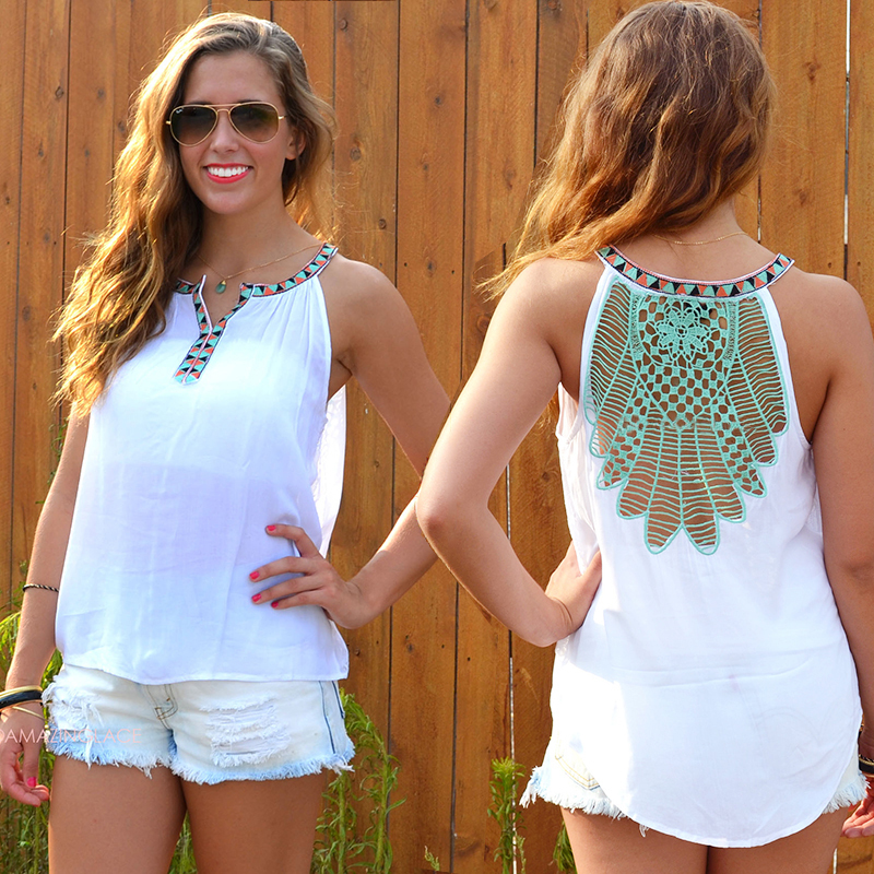 2016 New Summer Style Hollow Out Sleeveless Sexy Backless Women Tank Tops Casual All-Match Casual lace Top Tshirt plus size