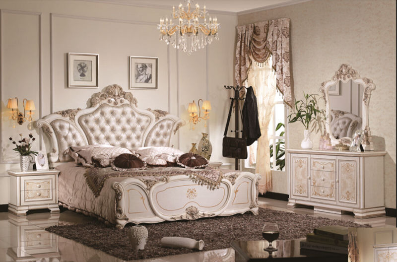 Luxury suite bedroom furniture of Europe type style including 1 bed 2 bedside table 1 chest a dresser and a makeup chair(China (Mainland))