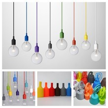 Modern Colorful Silicone Pendant Lights For Bar Restaurant E27 Pendant Lamp Hloder 1 Meter Cable 13 Colors Vintage Edison Bulbs(China (Mainland))