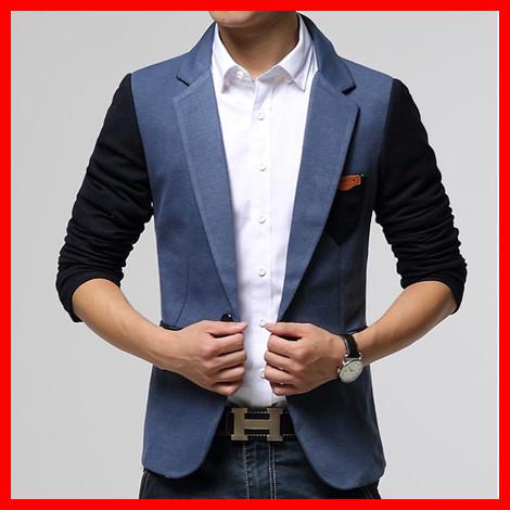[해외]새로운 남자 & 39;의 패션 캐주얼 대비 색 블레이저 코트..