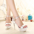CDTS 35 43 Summer 2016 new ladies crystal platforms Ankle Strap Sandals 14cm thin high heels